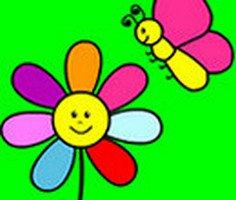 Çiçek ve Kelebek Boyama