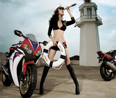 Motorcycle and Sexy Girls Jigsaw Puzzle